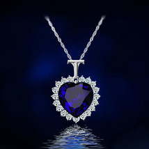 Titanic Heart Necklace Blue Necklace Pendant White Plated 2019 - $14.99