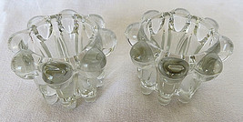 2 Clear Crystal Glass Candle Holders Candlestick Taper Votives Canelé Shape - $20.00