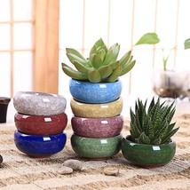 8pcs Ice Crack Flower Pot Glaze Succulent Ceramics Plant Flowerpot Garde... - $24.30