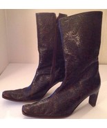 """GUESS Brown Embossed Leather Ankle Boots 3"""" Slim Heel 37.5 Sz 7 Italy VE... - $48.37"""