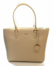 DKNY Donna Karan Sand Dollar Cream Leather Shopper Tote Bag Medium Handbag - $232.77