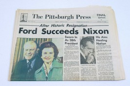 Vintage Aug 9 1974 Pittsburgh Press Newspaper Gerald Ford Succeeds Richa... - $49.49