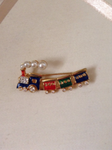 Vintage Enamel Faux Pearl Crystal Rhinestone Train Fashion Brooch - $20.00