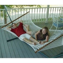 White Cotton Rope XL Hammock with 13-ft Black Metal Stand - $195.78