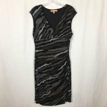 Ellen Tracy Stretch Knit Sheath Dress ~ M ~ Black with Brown & White Dot... - $17.59