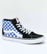 VANS Mens Sk8-Hi Pro Checkerboard Black Victoria Blue Skate Shoes Size 10 - $67.31