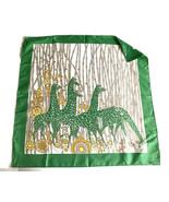 "Vintage Giraffes Scarf Square 27"" Green Fashion Safari Hand Rolled Anima... - $19.79"