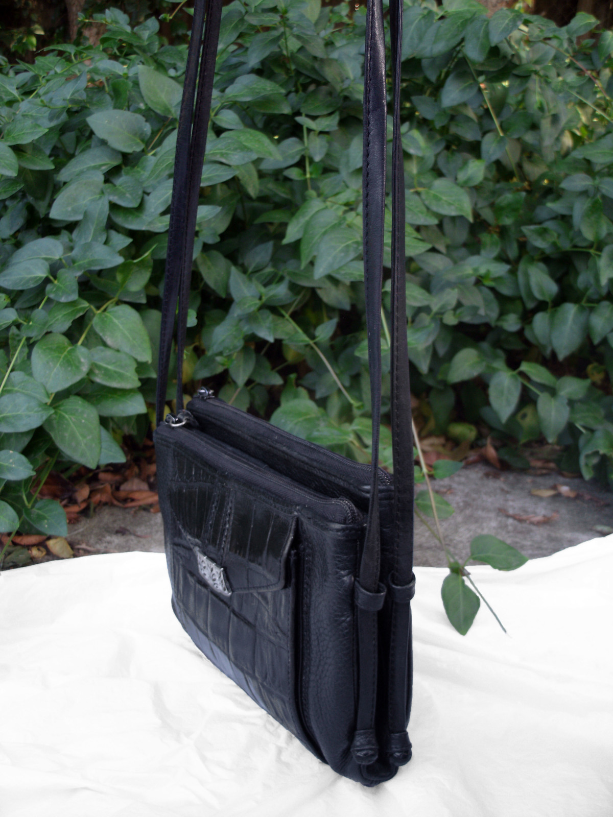 Brighton Croc and Pebbled Leather Cross Body Organizer Bag Black Silver Wallet image 4