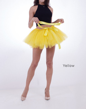 WOMEN MINI TUTU Skirt Drawstring Waist Solid Color Mini Petticoats Ballet Skirts image 10