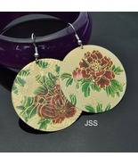 18k GP Hand Carved Painted Red Flower Earrings - $14.59
