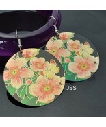 18k GP Hand Carved Hand Painted Peach Flower Ea... - $14.59