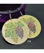18k GP Hand Carved Hand Painted Grapes Earrings - $14.59