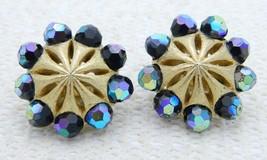 VTG RARE CROWN TRIFARI Gold Tone Blue Aurora Borealis Crystal Clip Earrings - $49.50