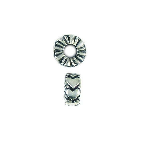 HEART BEAD LARGE HOLE FINE PEWTER BEAD - 12mm  x 12mm x 5mm 4.8mm Hole