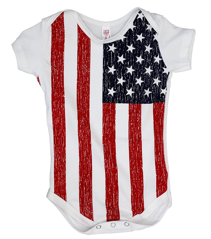 USA American Flag Infant Baby Kids Patriotic Bodysuit Romper Jumper
