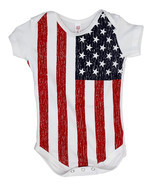 USA American Flag Infant Baby Kids Patriotic Bodysuit Romper Jumper - €8,82 EUR