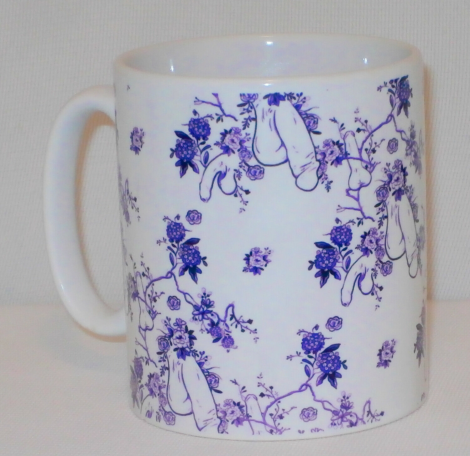 Purple Flower Penis Pattern Mug Funny Willy Cock Girlfriend Boyfriend Lover Gift