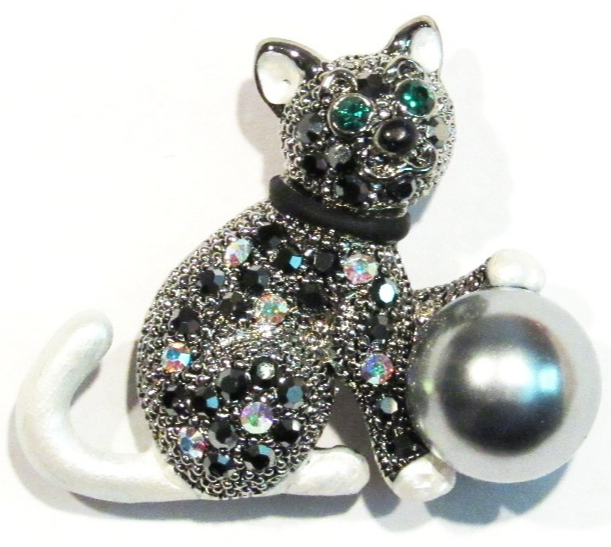 Primary image for Cat Pin Brooch Black White Multicolor Crystal Faux Gray Pearl Ball Silver Tone