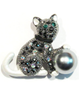 Cat Pin Brooch Black White Multicolor Crystal Faux Gray Pearl Ball Silver Tone - $14.99