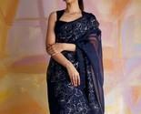 Beautiful Indian Designer Orgenza Silk Black Saree With Blouse Zari Border  - $52.49