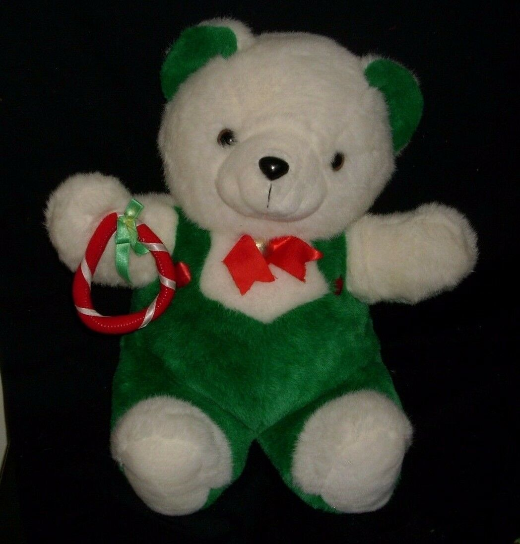 "20"" VINTAGE CHRISTMAS ENESCO WHITE GREEN RED TEDDY BEAR STUFFED ANIMAL PLUSH TOY"