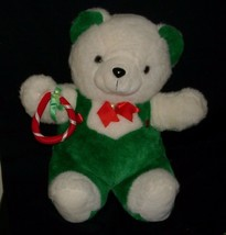 "20"" VINTAGE CHRISTMAS ENESCO WHITE GREEN RED TEDDY BEAR STUFFED ANIMAL P... - $50.64"