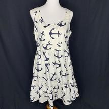 J Crew Sleeveless Anchor Nautical Dress Size 10 White Navy Side Zip Pockets - $89.09