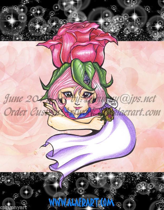 Rose Petal Place Originals +Prints Rose Petal Flowery + Starry Fan Art 4 pc Set!