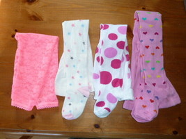 BABY GIRL 4 PAIRS TIGHTS HEART POLKA DOT STAR GYMBOREE LACE 12-24 NWOT - $22.76