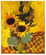 Braque 1945 LITHOGRAPH w/COA. Sunflowers. Stunning Georges Braque 1940s Art - $195.00