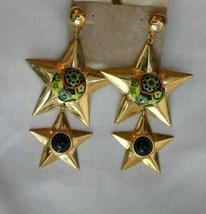 Art Plastic Goldtone Star 80s Exquisite Chandel... - $14.95