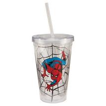 The Amazing Spider-Man Crawling on Web 18 oz Acrylic Travel Mug Cup, NEW... - $7.85