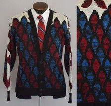 Vintage 80s Mens Button Front Cardigan Sweater Geometric Print Size Med ... - $64.99