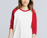 Gildan 3/4 Sleeve Baseball Raglan T Shirt Boys Girls Kids Youth Spports GD249