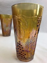 4 Indiana Carnival Glass Marigold Irridescent Tumblers Paneled Harvest G... - $28.05