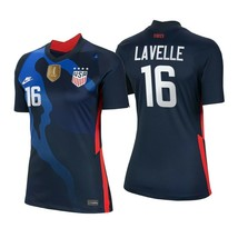 Nike Rose Lavelle Usa 2020 2021 Uswnt 4 Star Womens Blue Away Jersey Gold Patch - $89.99+