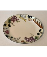 Hand Painted Oval Serving Platter Stonelite Clay Stoneware Clay Art Buon... - $39.99