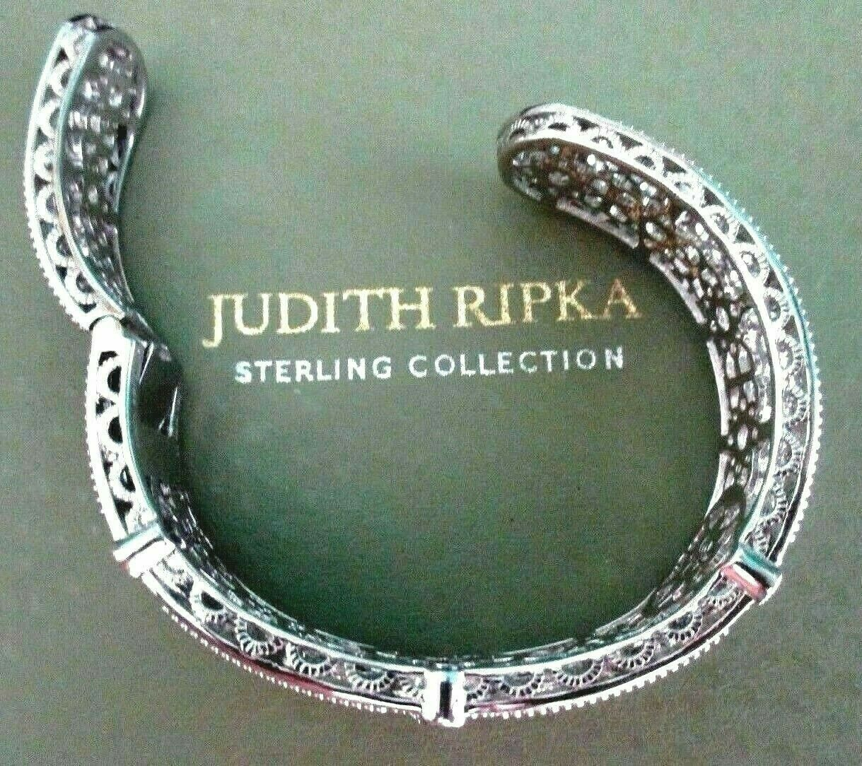 Judith Ripka Sterling Silver Diamonique Floral Hinged Cuff Bracelet AVG JR Box