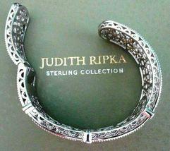 Judith Ripka Sterling Silver Diamonique Floral Hinged Cuff Bracelet AVG JR Box image 5