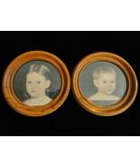 Primitive Folk Art Colonial Children Pair Vintage Round Wood Framed Prints  - $30.00