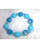 Turquoise Blue Fireball Beaded Stretch Bracelet  - $4.00