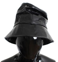Dolce & Gabbana Black Shiny Calfskin Leather Cloche Hat - $196.30