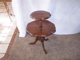 Solid Walnut 2-Tier Table/Dumbwaiter Table / Pie Crust Top  (T177) - $255.38