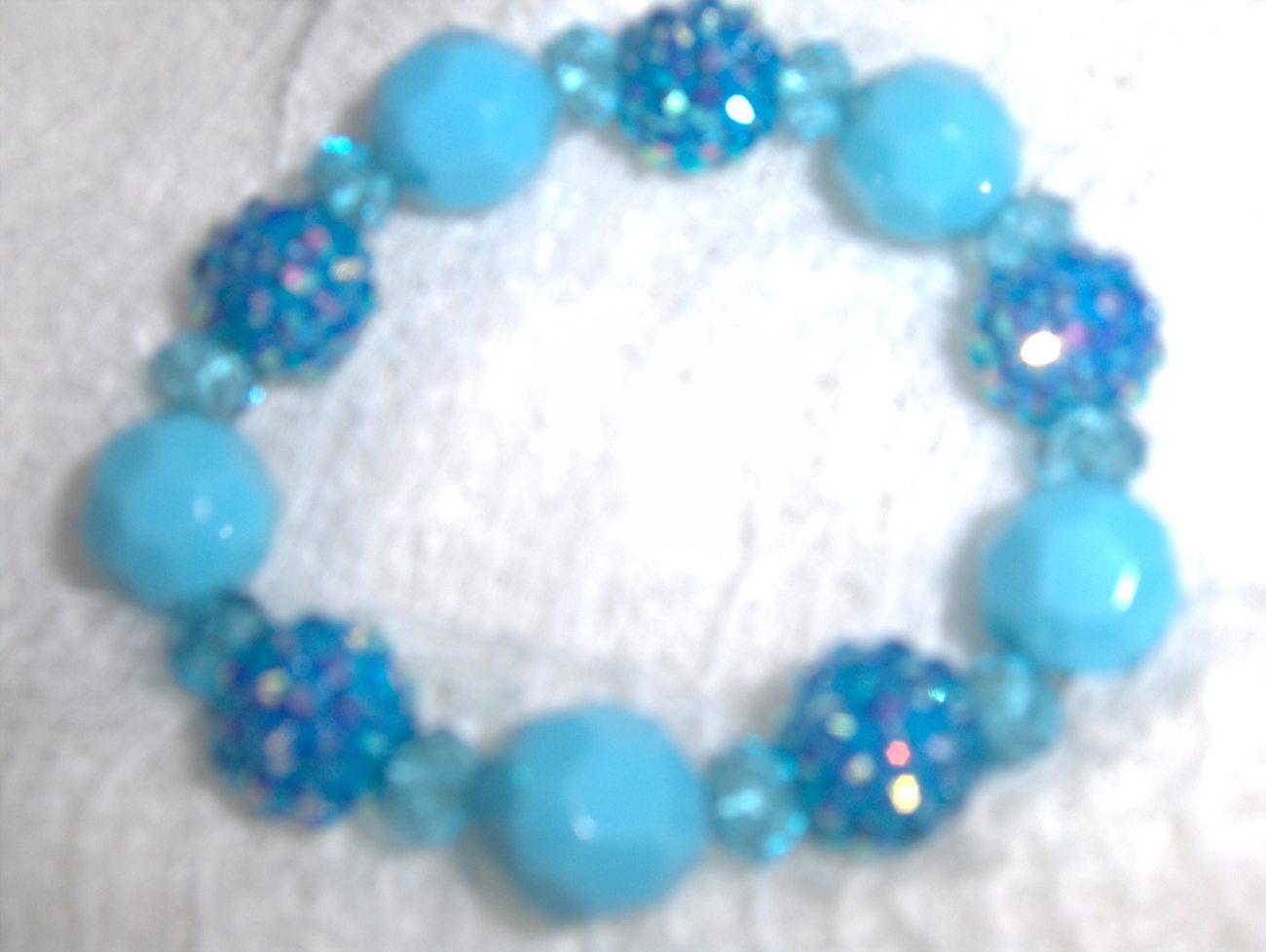 Turquoise Blue Fireball Beaded Stretch Bracelet
