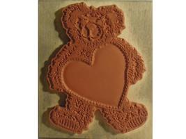 Vintage PSX 1995 Teddy Bear with Heart Rubber Stamp #K-1421 image 2
