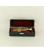 Miniature TROMPETE Musikinstrument in Etui Bronze Messing trumpet case a... - $101.44