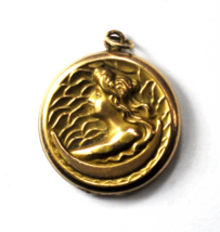 Vintage Gold Filled B&B Ornate Lady Waves Liberty Round Pendant Fob 29mm - $296.99