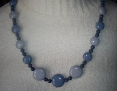 Bulky Blue Beaded Fashion Necklace, 22 inches long, barrel clasp