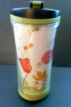 2007 Starbucks Green Floral Insulated Travel Tumbler 8 oz with Lid  - $23.13