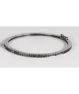 Black Diamonds Bangle Oxidized in.925 Sterling Silver with clasp, Christ... - $240.00